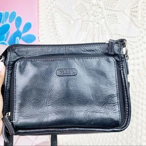 Fossil black vintage leather Crossbody bag